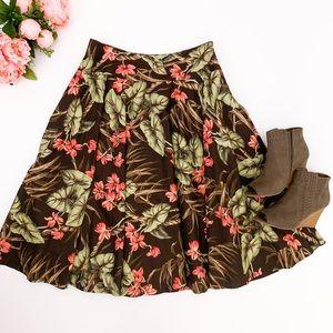 Jones New York Brown Green Tropical Full Skirt